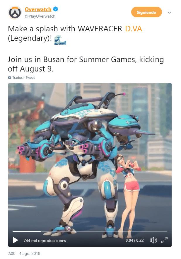 Overwatch juegos de verano 2018 Dva