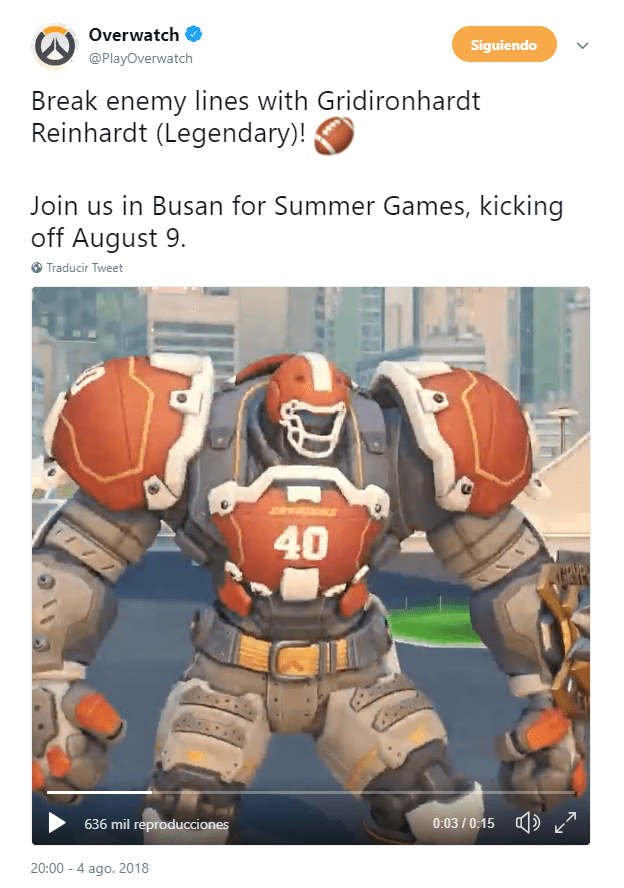 Overwatch juegos de verano 2018 reinhart