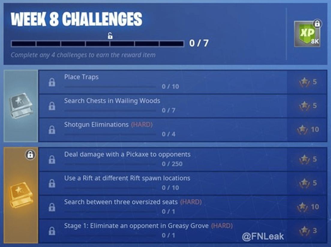 Desafíos de la semana 8 de Fortnite