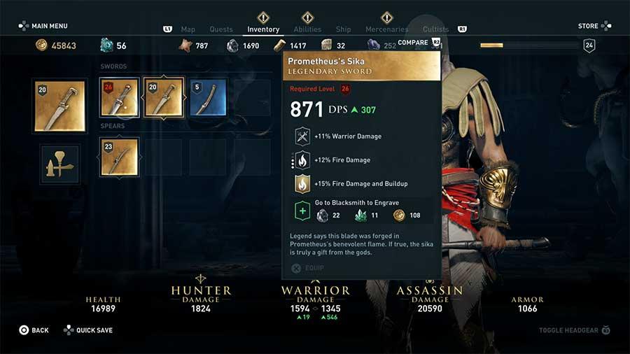 Ubicación armas legendarias de Assassin's Creed Odyssey img 3